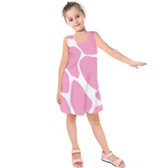 Baby Pink Girl Pattern Colorful Background Kids  Sleeveless Dress