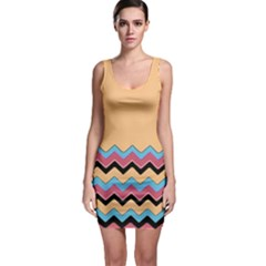 Chevrons Patterns Colorful Stripes Background Art Digital Sleeveless Bodycon Dress
