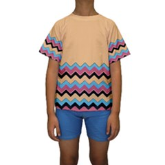 Chevrons Patterns Colorful Stripes Background Art Digital Kids  Short Sleeve Swimwear