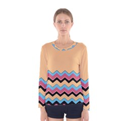 Chevrons Patterns Colorful Stripes Background Art Digital Women s Long Sleeve Tee
