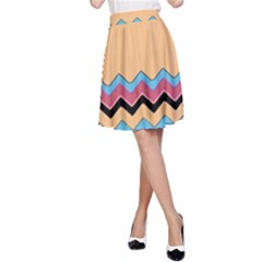 Chevrons Patterns Colorful Stripes Background Art Digital A-Line Skirt