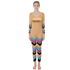 Chevrons Patterns Colorful Stripes Background Art Digital Long Sleeve Catsuit