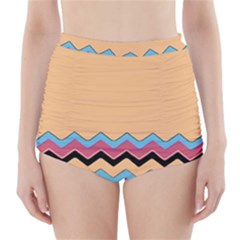 Chevrons Patterns Colorful Stripes Background Art Digital High-Waisted Bikini Bottoms