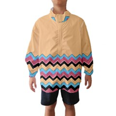 Chevrons Patterns Colorful Stripes Background Art Digital Wind Breaker (kids)