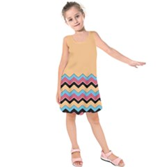 Chevrons Patterns Colorful Stripes Background Art Digital Kids  Sleeveless Dress