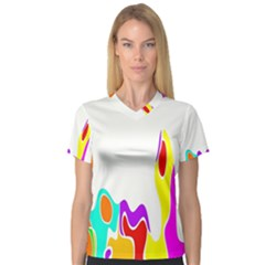 Simple Abstract With Copyspace Women s V Neck Sport Mesh Tee