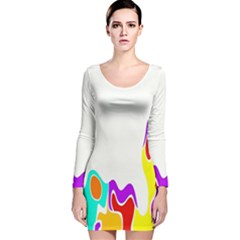 Simple Abstract With Copyspace Long Sleeve Velvet Bodycon Dress