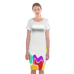 Simple Abstract With Copyspace Classic Short Sleeve Midi Dress