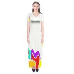Simple Abstract With Copyspace Short Sleeve Maxi Dress