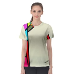 Digitally Created Abstract Page Border With Copyspace Women s Sport Mesh Tee