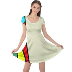 Digitally Created Abstract Page Border With Copyspace Cap Sleeve Dresses