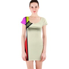 Digitally Created Abstract Page Border With Copyspace Short Sleeve Bodycon Dress