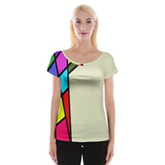 Digitally Created Abstract Page Border With Copyspace Women s Cap Sleeve Top