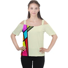 Digitally Created Abstract Page Border With Copyspace Women s Cutout Shoulder Tee
