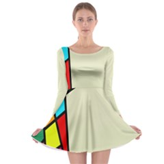 Digitally Created Abstract Page Border With Copyspace Long Sleeve Skater Dress