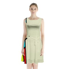 Digitally Created Abstract Page Border With Copyspace Sleeveless Chiffon Waist Tie Dress