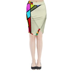 Digitally Created Abstract Page Border With Copyspace Midi Wrap Pencil Skirt