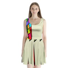 Digitally Created Abstract Page Border With Copyspace Split Back Mini Dress