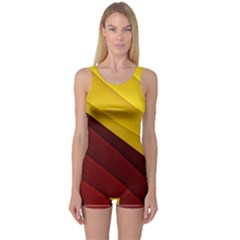 3d Glass Frame With Red Gold Fractal Background One Piece Boyleg Swimsuit