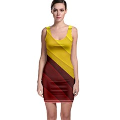 3d Glass Frame With Red Gold Fractal Background Sleeveless Bodycon Dress