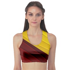 3d Glass Frame With Red Gold Fractal Background Sports Bra