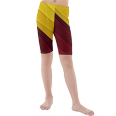 3d Glass Frame With Red Gold Fractal Background Kids  Mid Length Swim Shorts