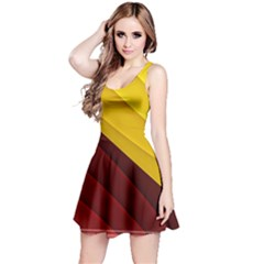 3d Glass Frame With Red Gold Fractal Background Reversible Sleeveless Dress