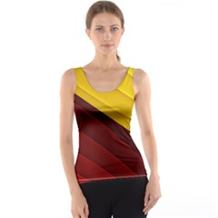 3d Glass Frame With Red Gold Fractal Background Tank Top