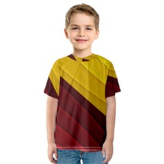 3d Glass Frame With Red Gold Fractal Background Kids  Sport Mesh Tee