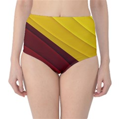 3d Glass Frame With Red Gold Fractal Background High Waist Bikini Bottoms