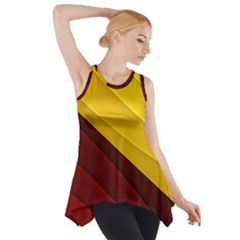 3d Glass Frame With Red Gold Fractal Background Side Drop Tank Tunic