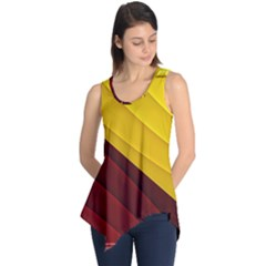 3d Glass Frame With Red Gold Fractal Background Sleeveless Tunic