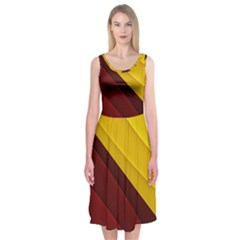 3d Glass Frame With Red Gold Fractal Background Midi Sleeveless Dress
