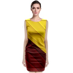3d Glass Frame With Red Gold Fractal Background Classic Sleeveless Midi Dress