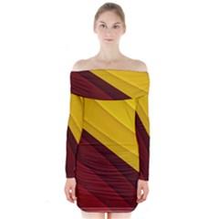3d Glass Frame With Red Gold Fractal Background Long Sleeve Off Shoulder Dress