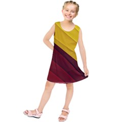 3d Glass Frame With Red Gold Fractal Background Kids  Tunic Dress