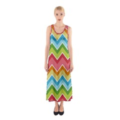 Colorful Background Of Chevrons Zigzag Pattern Sleeveless Maxi Dress