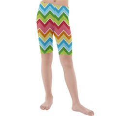 Colorful Background Of Chevrons Zigzag Pattern Kids  Mid Length Swim Shorts