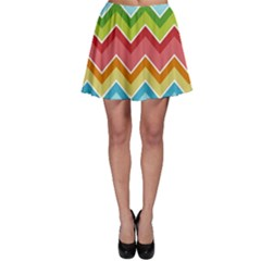 Colorful Background Of Chevrons Zigzag Pattern Skater Skirt