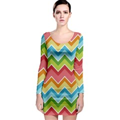 Colorful Background Of Chevrons Zigzag Pattern Long Sleeve Bodycon Dress