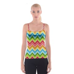 Colorful Background Of Chevrons Zigzag Pattern Spaghetti Strap Top