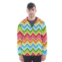 Colorful Background Of Chevrons Zigzag Pattern Hooded Wind Breaker (men)