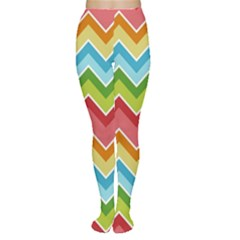 Colorful Background Of Chevrons Zigzag Pattern Women s Tights