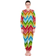 Colorful Background Of Chevrons Zigzag Pattern Onepiece Jumpsuit (ladies)