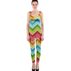 Colorful Background Of Chevrons Zigzag Pattern OnePiece Catsuit