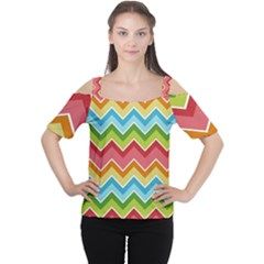 Colorful Background Of Chevrons Zigzag Pattern Women s Cutout Shoulder Tee