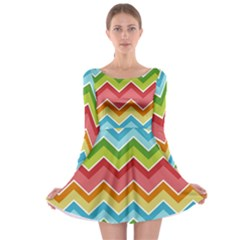 Colorful Background Of Chevrons Zigzag Pattern Long Sleeve Skater Dress