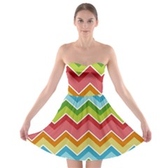 Colorful Background Of Chevrons Zigzag Pattern Strapless Bra Top Dress
