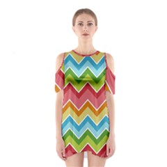 Colorful Background Of Chevrons Zigzag Pattern Shoulder Cutout One Piece