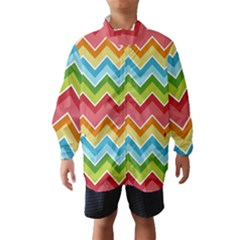 Colorful Background Of Chevrons Zigzag Pattern Wind Breaker (kids)
